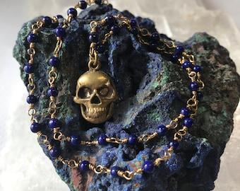 Skull Necklace, Lapis Skull Necklace