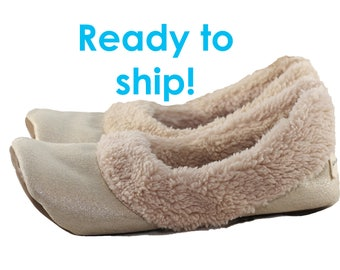 Women's Travel Slippers - Travel Shoes - Gift for Women - Sherpa Slippers - Women's Slippers with Soles - Soft Sole Shoes Women - Gold size8