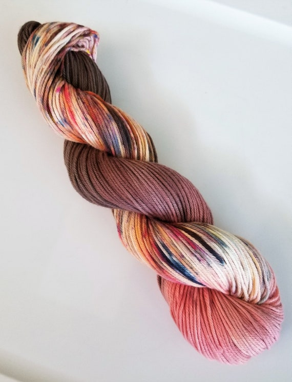 Pas de Deux- 100% Organic Cotton, Hand Dyed, Fingering Weight, Ombre, Speckled Yarn