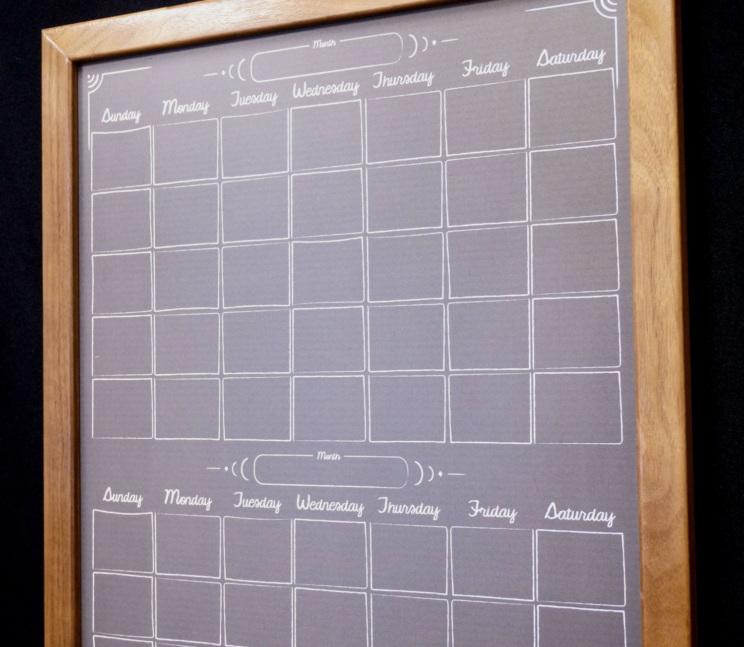 Two Month Black Chalkboard Calendar Dry Erase