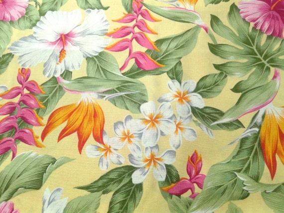 Hawaiian Fabric Multi Color Floral Yellow Hawaiian Print