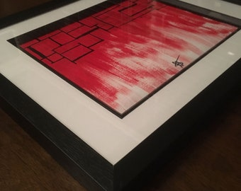 "Modern art: ""the blood prison by luca Reid""; a stunning modern acrylic painting piece with a frame"