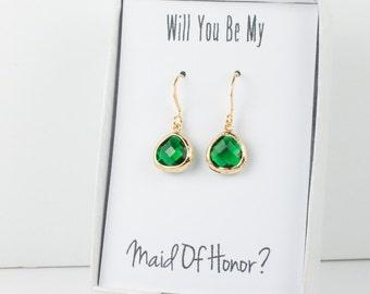 Tiny Emerald Gold Earrings, Gold Emerald Earrings, May Birthstone Gold Earrings, Bridesmaid Jewelry, Green Wedding Jewelry