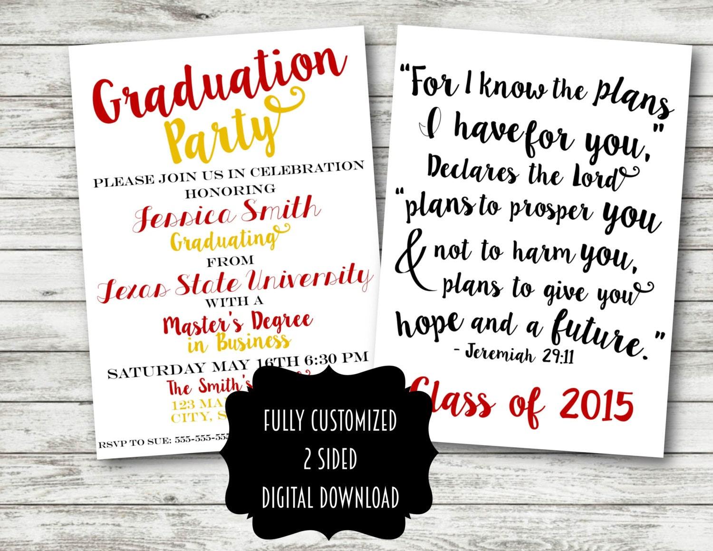 Graduation invitation announcement party college university