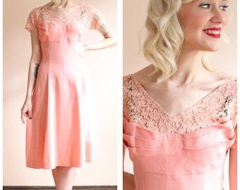 1950s Dress // Carnation Pink Lace & Linen Dress // vintage 50s dress