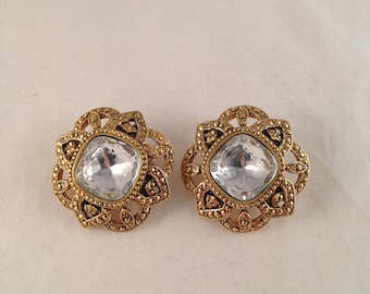 Vintage Antique Gold Rhinestone Clip On Earrings by Avon, 1 & 3/8 Inches Wide and Long Previously 15 Dollars ON SALE