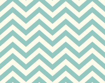 Organic Cotton Fabric by the Yard -- Birch Fabrics Skinny Chev Pool (Light Green Chevron)