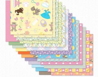 Growing Pains Baby Girl Digital Scrapbook Papers