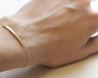 Hammered Gold Bar Bracelet 14kt Gold Filled Chain Bracelet