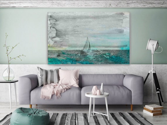 Blue Winds. Coastal Blue Grey Watercolor Mixed Media Canvas Wall Art Print Large Scaled Wall Art Decor, Ocean, Water, Art  by Irena Orlov