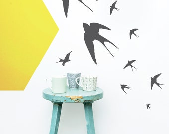 Flying Swallows Set- Vinyl Wall Sticker Decal