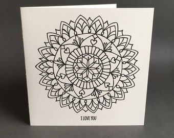 I Love You Mandala letterpress greeting card