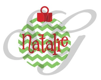 Personalized Chevron Christmas Ornament iron on decal for shirt
