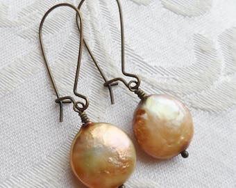 75% Off Freshwater Pearl Earrings, Golden Beige, Coin Pearl, Antique Brass