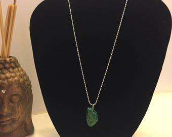 Green Dalmatian stone necklace