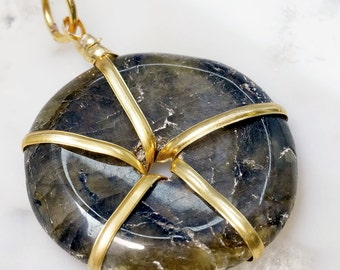 Gold Plated Wire Wrapped Labradorite Donut Pendant (WD11DG)