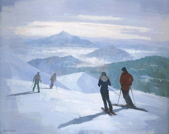 Into the Valley, Original Ski Painting