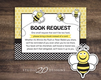Instant Download Bee Book Request, Honey Bee Book in Lieu of Card, Gender Neutral Bee Theme Baby Shower Book Instead of Card 36A