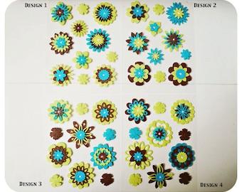 Green, Brown & Turquoise Flower felt embellishment set