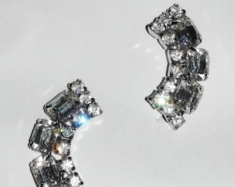 Vintage Rhinestone Clip on Earrings Curved Semi Circle Formal Evening Party 1960s 60s