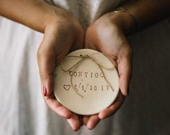Custom ceramic jewelry ring dish for weddings, Custom engagement ring dish, Personalized ring dish, Custom ring holder, Ring dish wedding