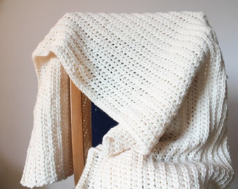 Crochet natural chuncky blanket, Afghan, Chunky crochet afghan, Couch blanket