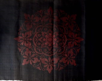 "Antique Japanese Kimono Silk Meisen Mandala Fabric 14 3/4""W x 118"" -345A-L21"