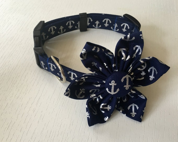 Silver Anchor Fabric Flower Accessory