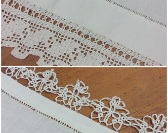 2 Vintage Linen Table Runners Solid White Crocheted Trim