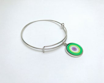 Paper bracelet, Paper jewelry, Ombre bracelet, Upcycled, Monet bracelet, charm bracelet, bangle bracelet, green and purple, Unique jewelry