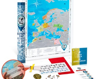 Scratch off Poster Map of Europe. Premium Quality Laminated Paper. Detailed Travel Map. Perfect Gift for Travellers. Deluxe Travellers Gift