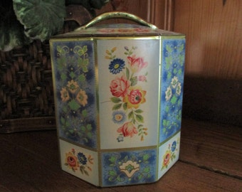 Vintage Octagon Lidded Tin Made in Belgium
