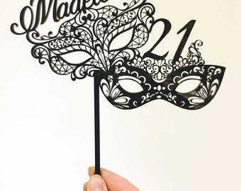 Birthday Acrylic Cake Topper - Masquerade Mask Party Name & Age (ARC1754) MADE IN Australia