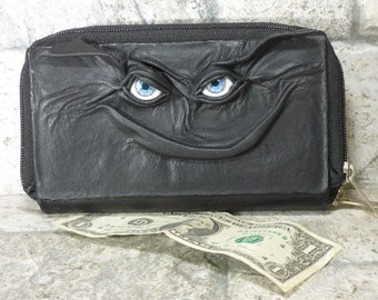 Woman Wallet Clutch With Monster Face Double Zippered Organizer Black Leather 239