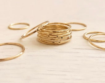 Thin Dainty Gold Hammered Ring / Stackable Simple Delicate Ring for Her / Textured Band Stacking Ring