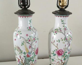Chinoiserie pair Lamps / Petite Table Lamps 1940's