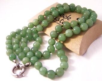 Vintage Sterling Silver Aventurine Necklace, Green Necklace, Green Bead Necklace, Silver Clasp Necklace, Agate Necklace, Round Bead Necklace