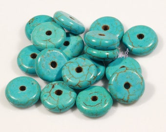 x 20 turquoise 10mm veined HEISHI lentil beads