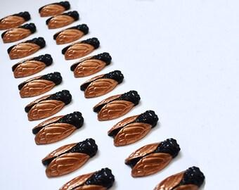 Lot 20 cicadas 5 cm copper and black decor
