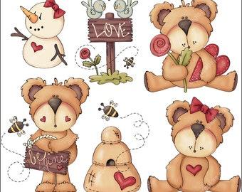 Sweetie Bears - Clip Art Designs Graphics Illustrations Doodles Artwork Instant Digital Download, Commercial Use Allowed