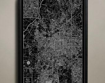 ATLANTA Map Print Poster, Black and White Art Print