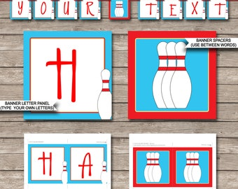 Bowling Party Banner - Happy Birthday Banner - Custom Banner - Bowling Party Decorations - Bunting - INSTANT DOWNLOAD with EDITABLE text