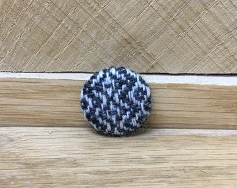 Button, Dome Button, Herringbone, Tweed, Chevron  – Bramley Oxford Grey – 2.5cm
