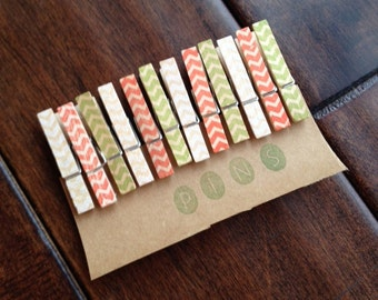 """Mini Clothespins """"Holiday Chevron"""" - Set of 12 Handstamped Clothes Pins"""