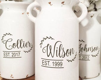 Wedding gifts, farmhouse style, milk can, house warming gift, home decor, personalized jug, established, farmhouse milk jug, gift for couple