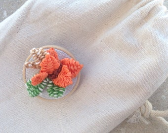 Tiny brooch, tropical  embroidery, mother day, orange and green floral embroidered, floral brooch, for woman, ready to ship, tropical brooch