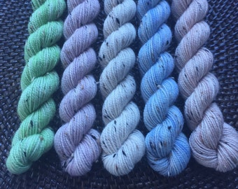 Tweedy Tonal Mini Skein Set: 5 x 20g