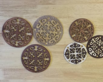 Round handmade wooden coasters x 6 pieces (3 for plates, 3 for cups)