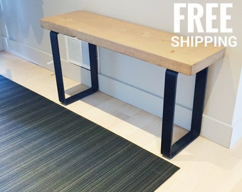 Industrial wood bench | Reclaimed wood bench, wooden bench |  Farmhouse bench, Entry bench, Mudroom bench | Free shipping