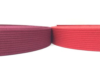 Cotton Polyester Webbing 2 Inches -Dark Red, Bright Red